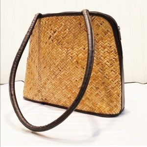 Vintage Boho Brown Wicker Purse